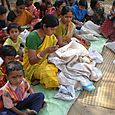 Women doing kantha embroidery in Goalpara village, Birbhum